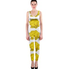 Yellow Rose Pattern Print  OnePiece Catsuits