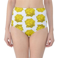 Yellow Rose Pattern Print  High-Waist Bikini Bottoms