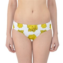 Yellow Rose Pattern Print  Hipster Bikini Bottoms