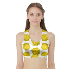 Yellow Rose Pattern Print  Women s Sports Bra with Border