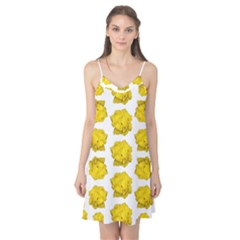 Yellow Rose Patterned Print Camis Nightgown