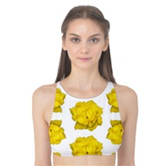 Yellow Rose Pattern Print  Tank Bikini Top