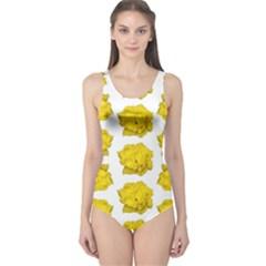 Yellow Rose Pattern Print  Women s One Piece Swimsuits
