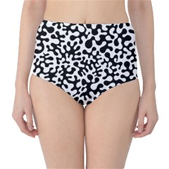 Black and White Blots  High-Waist Bikini Bottoms