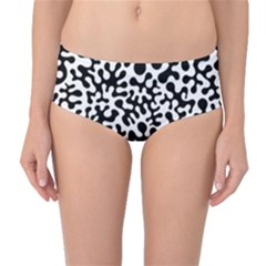 Black and White Blots  Mid-Waist Bikini Bottoms