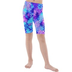 Blue And Purple Marble Waves Kid s Swimwear