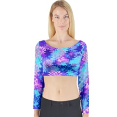 Blue and Purple Marble Waves Long Sleeve Crop Top