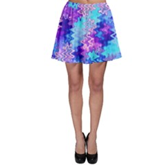 Blue And Purple Marble Waves Skater Skirts