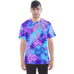 Blue and Purple Marble Waves Men s Sport Mesh Tees