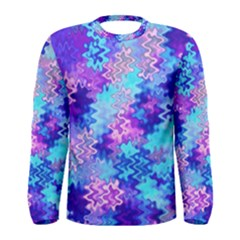 Blue and Purple Marble Waves Men s Long Sleeve T-shirts