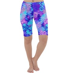 Blue and Purple Marble Waves Cropped Leggings