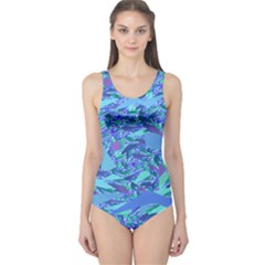 Blue Confetti Storm One Piece Swimsuit
