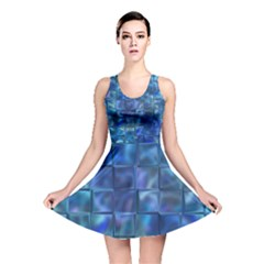 Blue Squares Tiles Reversible Skater Dress