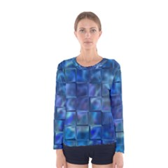 Blue Squares Tiles Women s Long Sleeve T Shirt