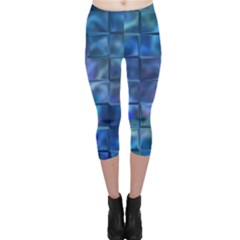 Blue Squares Tiles Capri Leggings