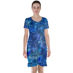 Blue Squares Tiles Short Sleeve Nightdress