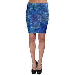 Blue Squares Tiles Bodycon Skirts