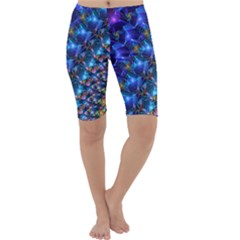 Blue Sunrise Fractal Cropped Leggings