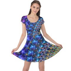Blue Sunrise Fractal Cap Sleeve Dress