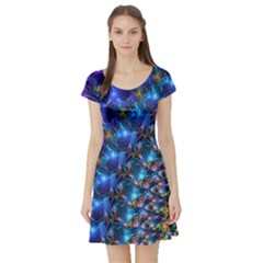 Blue Sunrise Fractal Short Sleeve Skater Dress