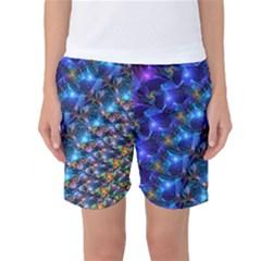 Blue Sunrise Fractal Women s Basketball Shorts