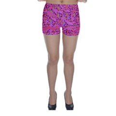Bright Pink Confetti Storm Skinny Shorts
