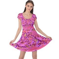 Bright Pink Confetti Storm Cap Sleeve Dress
