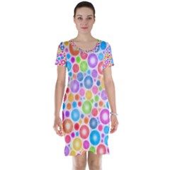 Candy Color s Circles Short Sleeve Nightdress