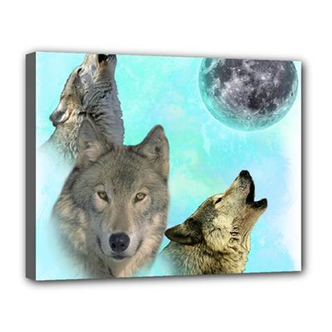 Wolves Shiney Grim Moon 3000 Canvas 14  X 11