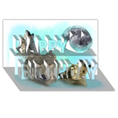 Wolves Shiney Grim Moon 3000 Happy Birthday 3d Greeting Card (8x4)