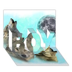 Wolves Shiney Grim Moon 3000 BOY 3D Greeting Card (7x5)
