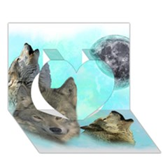 Wolves Shiney Grim Moon 3000 Heart 3d Greeting Card (7x5)