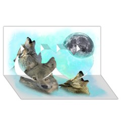 Wolves Shiney Grim Moon 3000 Twin Hearts 3D Greeting Card (8x4)