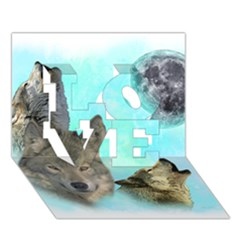 Wolves Shiney Grim Moon 3000 Love 3d Greeting Card (7x5)
