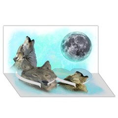 Wolves Shiney Grim Moon 3000 Twin Heart Bottom 3d Greeting Card (8x4)