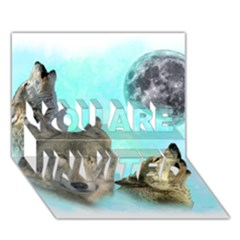 Wolves Shiney Grim Moon 3000 YOU ARE INVITED 3D Greeting Card (7x5)