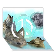 Wolves Shiney Grim Moon 3000 Peace Sign 3d Greeting Card (7x5)