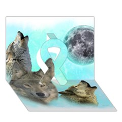 Wolves Shiney Grim Moon 3000 Ribbon 3D Greeting Card (7x5)