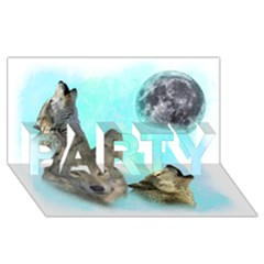 Wolves Shiney Grim Moon 3000 PARTY 3D Greeting Card (8x4)
