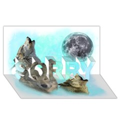 Wolves Shiney Grim Moon 3000 SORRY 3D Greeting Card (8x4)
