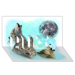 Wolves Shiney Grim Moon 3000 HUGS 3D Greeting Card (8x4)