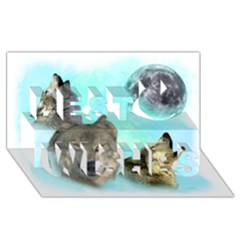 Wolves Shiney Grim Moon 3000 Best Wish 3D Greeting Card (8x4)