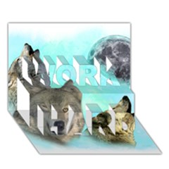 Wolves Shiney Grim Moon 3000 WORK HARD 3D Greeting Card (7x5)