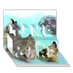 Wolves Shiney Grim Moon 3000 Take Care 3d Greeting Card (7x5)