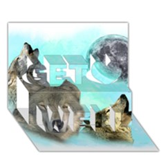 Wolves Shiney Grim Moon 3000 Get Well 3D Greeting Card (7x5)