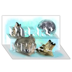 Wolves Shiney Grim Moon 3000 Merry Xmas 3d Greeting Card (8x4)