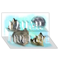 Wolves Shiney Grim Moon 3000 Laugh Live Love 3D Greeting Card (8x4)