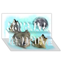 Wolves Shiney Grim Moon 3000 Congrats Graduate 3D Greeting Card (8x4)