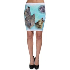 Wolves Shiney Grim Moon 3000 Bodycon Skirts