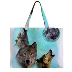Wolves Shiney Grim Moon 3000 Zipper Tiny Tote Bags